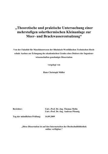 """""""Theoretische und praktische Untersuchung einer mehrstufigen ..."""