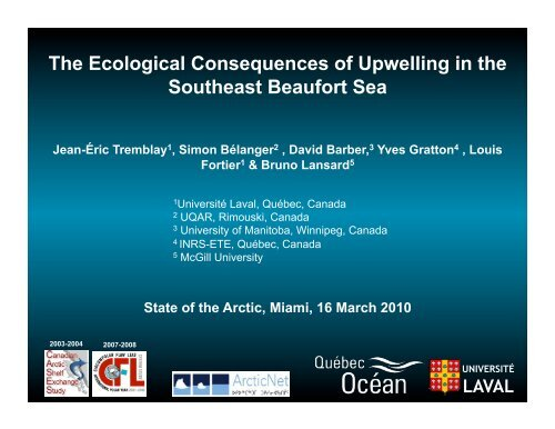 The Ecological Consequences of Upwelling in the Southeast ...