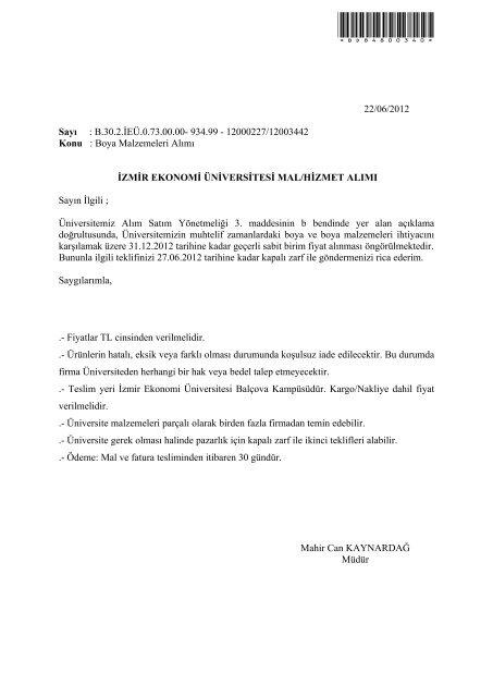 Boya Malzemeleri Alımı - İzmir Ekonomi Üniversitesi
