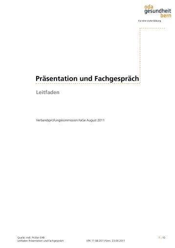 Präsentation und Fachgespräch - OdA Gesundheit Bern