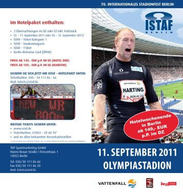 11. SEPTEMBER 2011 OLYMPIASTADION - Hamburger Sportbund
