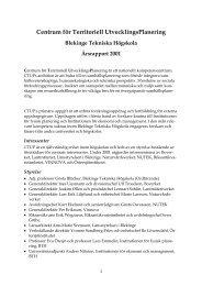 Centrum för Territoriell UtvecklingsPlanering - Blekinge Tekniska ...