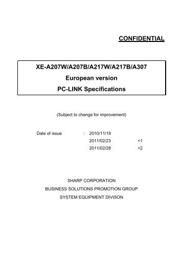 Sharp PC Link Manual XE-A207 & 217