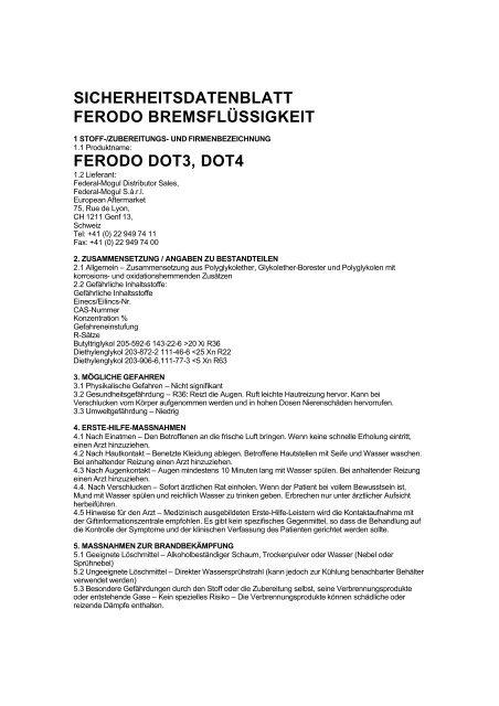 sicherheitsdatenblatt ferodo bremsflüssigkeit ferodo dot3, dot4