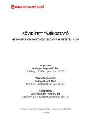 RÖVIDÍTETT TÁJÉKOZTATÓ GE MONEY EMEA ... - Budapest Bank