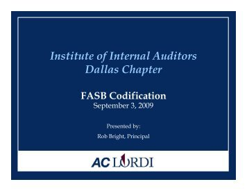 FASB Codification - IIA Dallas Chapter