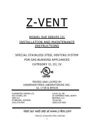 z-vent model sve series iii installation and maintenance instructions ...