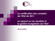 Présentation La certification des comptes de l'Etat - Cour des comptes