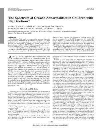 The Spectrum of Growth Abnormalities in Children with 18q Deletions*