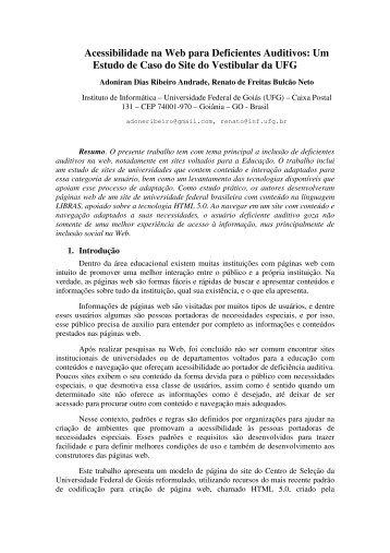 Acessibilidade na Web para Deficientes Auditivos: Um Estudo de ...