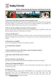 FAQs on Student Exchange Programs with Nanjing University 1 ...