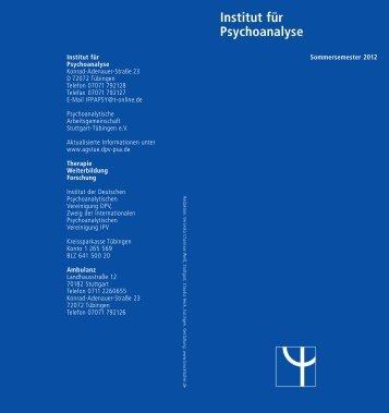 Institut für Psychoanalyse Psychoanalytische Arbeitsgemeinschaft ...