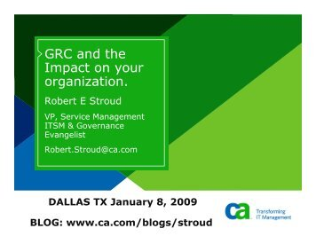 GRC and the Impact on your organization. - IIA Dallas Chapter