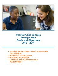 Atlanta Public Schools Strategic Plan Goals and Objectives 2010 ...