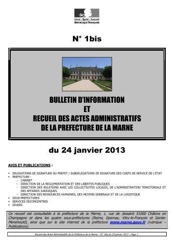 Recueil 1bis-2013 du 24 janvier (p1 à 52) - Préfecture de la Marne
