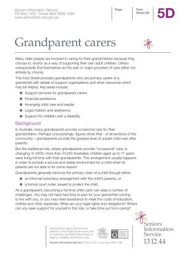 Grandparent carers - Seniors Information Service - NSW Government