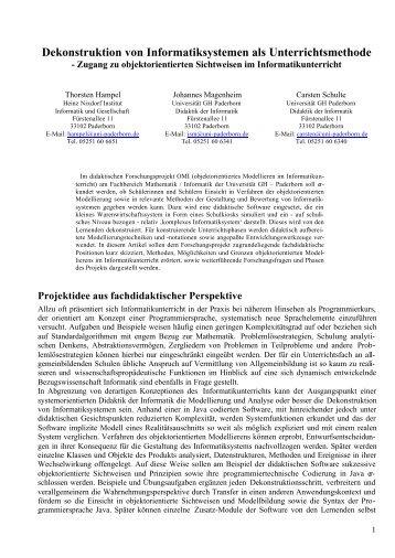 Dekonstruktion von Informatiksystemen als Unterrichtsmethode