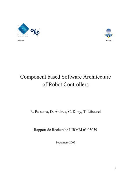 Component based Software Architecture of Robot Controllers