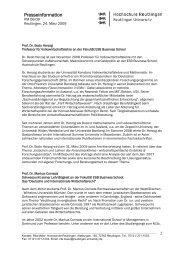 Presseinformation - Hochschule - Hochschule Reutlingen
