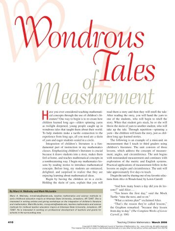 Wondrous Tales of Measurement - Department of Mathematical ...