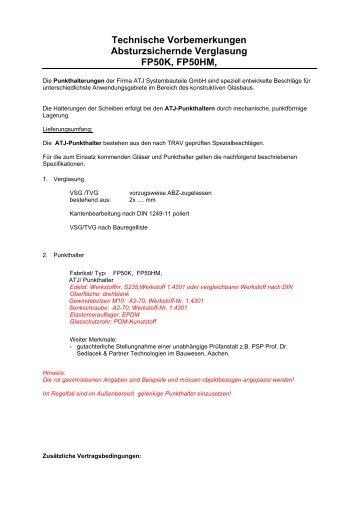 Leistungsbeschreibung Absturzsichernde Verglasung FP50K/HM