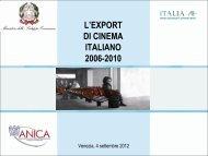 L'export di cinema italiano 2006-2010 - Anica