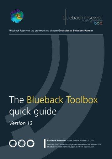 The Blueback Toolbox quick guide - Blueback Reservoir