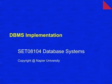 DBMS Implementation SET08104 Database Systems