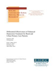 Differential Effectiveness Of Enhanced Depression Treatment - WICHE