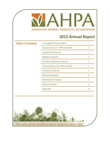 2012 Annual Report - American Herbal Products Association