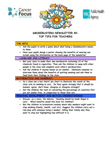 top tips for teachers - Cancer Focus Northern Ireland