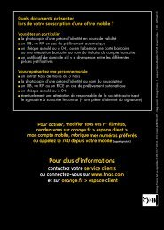 Pour plus d'informations - Orange mobile