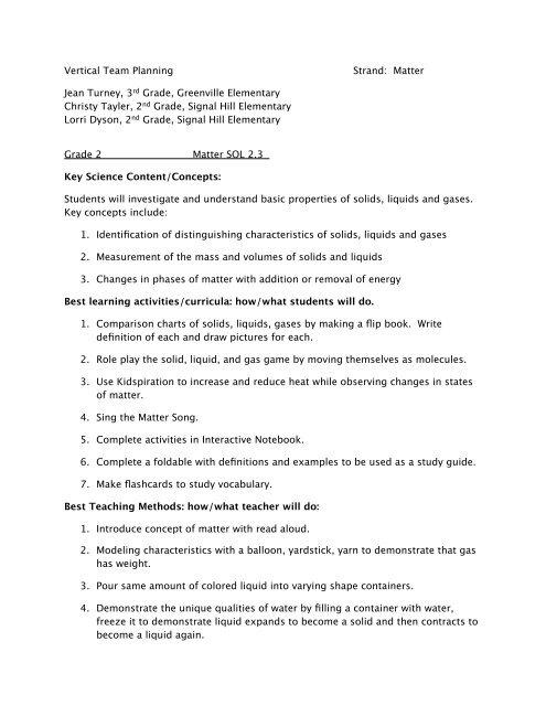 Vertical Team Planning Strand Matter Jean Turney 3rd Grade