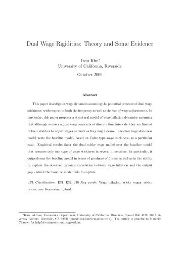 models of price and wage rigidities economics essay This pdf is a selection from an out-of-print volume from the national bureau of economic research volume title: money, history, and international finance: essays.