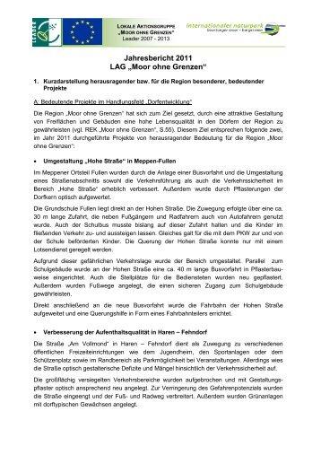 """Jahresbericht 2011 LAG """"Moor ohne Grenzen"""" - Naturpark ..."""