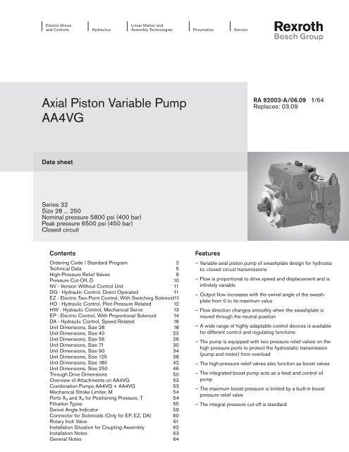 Axial Piston Variable Pump AA4VG - Bosch Rexroth
