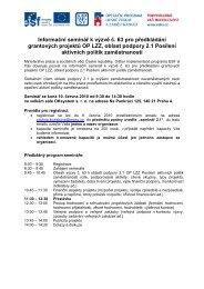 Informační seminář k výzvě č. 63 pro předkládání grantových ...