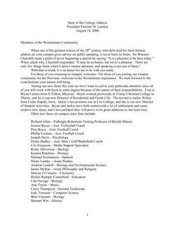 1 State of the College Address President Fletcher M. Lamkin August ...