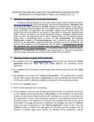 INSTRUCTIONS FOR APPLYING FOR THE ... - CEE-Kerala