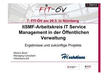 itSMF-Arbeitskreis IT Service Management in der ... - FIT-öV