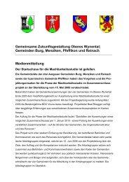 Gemeinsame Zukunftsgestaltung Oberes Wynental; Gemeinden ...