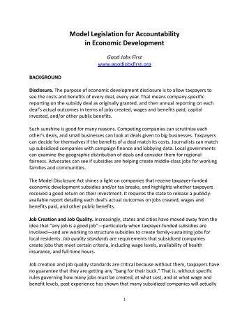 Economic Development Accountability Model ... - Good Jobs First