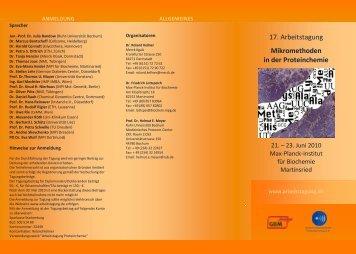 17. Arbeitstagung Mikromethoden in der Proteinchemie