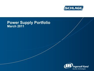 Schlage Power Supply Portfolio - Access Hardware Supply