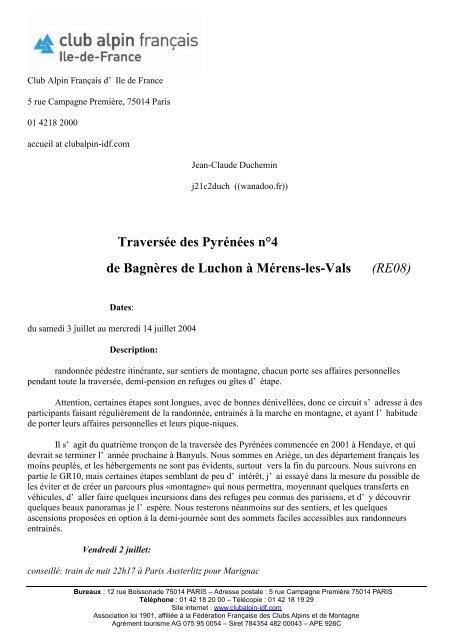 Traversée des Pyrénées n°4 de Bagnères de Luchon à Mérens-les ...