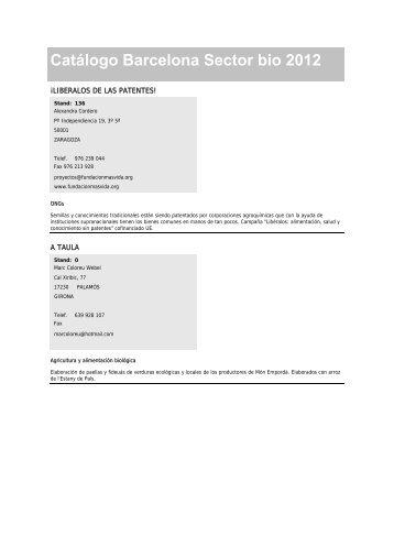 Catálogo expositores Barcelona 2012 - Biocultura