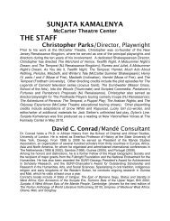 SUNJATA KAMALENYA McCarter Theatre Center THE STAFF ...