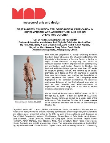 first in-depth exhibition exploring digital fabrication in contemporary ...