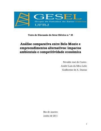 Análise comparativa entre Belo Monte e ... - Nuca - UFRJ