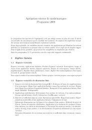 Agrégation externe de mathématiques Programme 2009